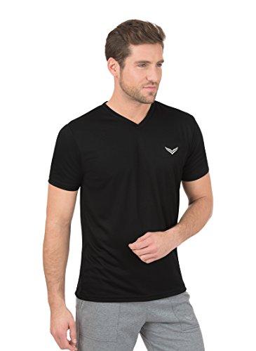 Trigema Herren V-Shirt Coolmax, Noir-Schwarz (Schwarz 008), Medium Homme
