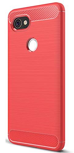 XINFENGDIGoogle Pixel 2XL Funda, TPU Slim Silicona Case Cover [Anti-arañazos] Funda para Smartphone Google Pixel 2XL - Rojo