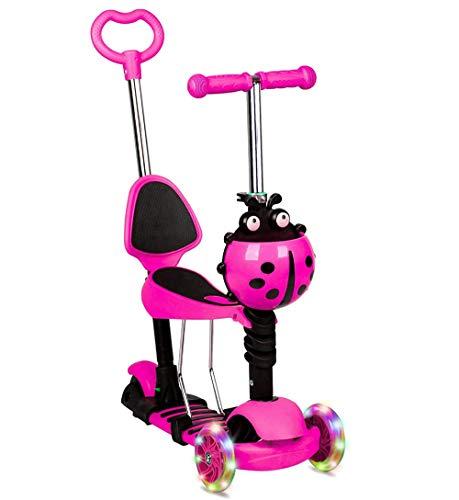 Scooter 5 en 1 para niños con 3 ruedas con luz LED intermitente, manillar ajustable extraíble y asiento y mango de empuje para niños y niñas de 2 a 8 años