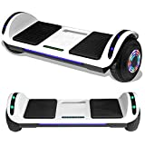 TPS Hoverboard Self Balancing Scooter with Speaker LED Lights Flashing Wheels for Kids and Adults Hover Board - UL Certified (White)
