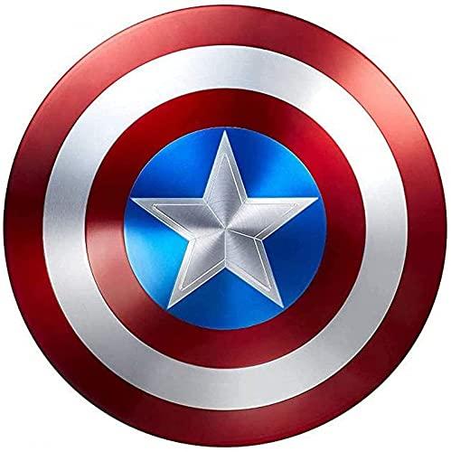 HLWJXS Capitán América Escudo Todo Metal 1: 1 Versión de película Portátil Batalla Daño Versión Props Bar Decoración de Hierro Vengadores Gorras Escudo Real Replica Cosplay Props Cumpleaños Regalo