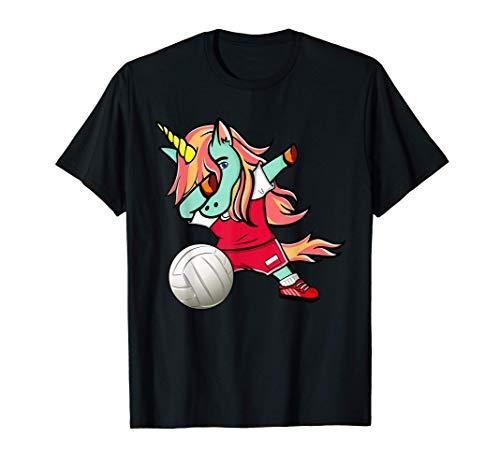 面白いダンスユニコーンポーランドバレーボールチームポーランドの旗-スポーツファン Poland Volleyball Tシャツ