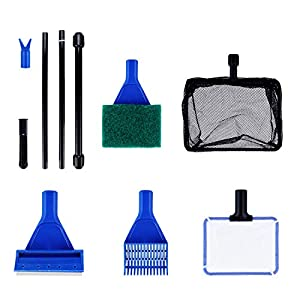 Color 6 in 1 Aquarium Glass Tank Fish Tank Cleaning kit Algae Cleaning Tool with Gravel Rake, Algae Scraper, Sponge…