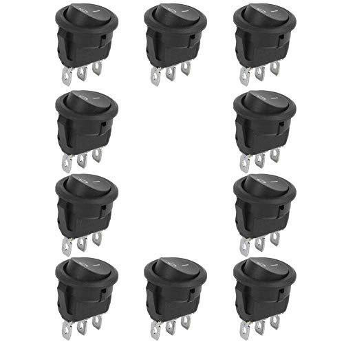10 Uds 23mm Mini interruptores basculantes 6A 250V, 10A 125V 3Pin 2 posiciones redondo barco Mini interruptor basculante ON-OFF