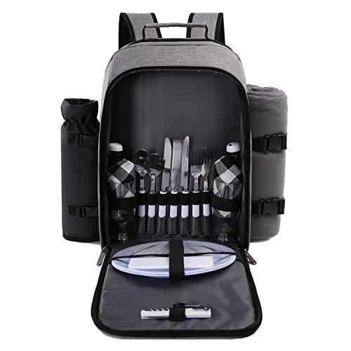 TAIBID Sac à dos de pique-nique pour 2 personnes avec compartiment isotherme/porte-bouteilles amovible, couverture en polaire, assiettes et couverts pour camping en plein air (gris)