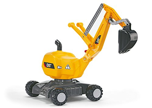 rolly toys CAT Construction Ride-On: 360-Degree Excavator/Shovel Digger, Youth Ages 3+ , Yellow
