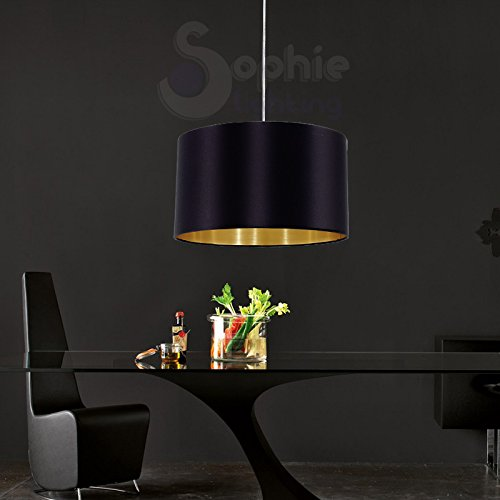 Lustre suspension réglable abat-jour en tissu diamètre 38 cm design moderne noir or salle à manger EG 99513 SOPHIE LIGHTING