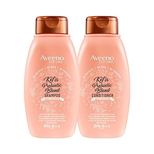 AVEENO Kefir Probiotic Blend Shampoo 12oz with Aveeno Kefir Probiotic Blend Conditioner, Almond Blossom, 12 Fl Oz