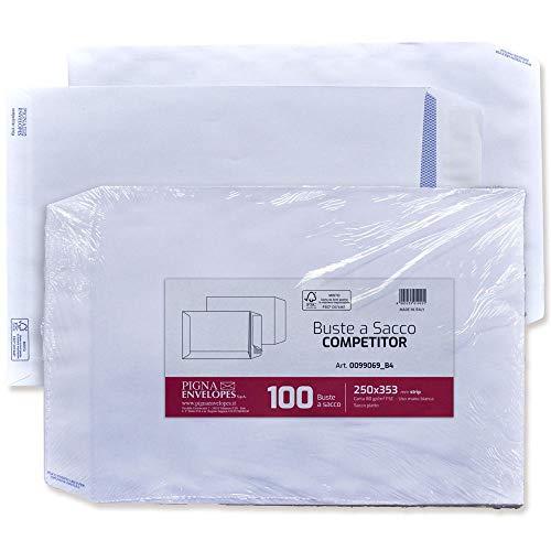 Pigna Competitor PK0099069 Buste a Sacco Piatto Strip, F.To 250 x 353 in Carta Uso Mano Fsc 80 g, Pak. 100