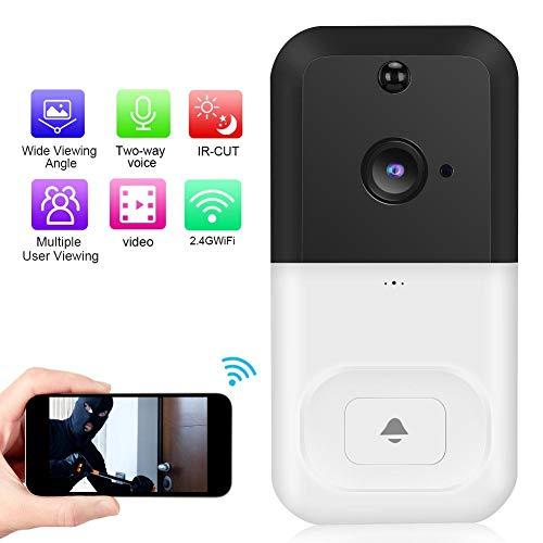 Draadloze video deurbel, 1080P WiFi waterdichte draadloze intercom deurbel camera met APP-bediening + PIR-detectie + nachtzicht + ondersteuning voor cloudopslag (wit)