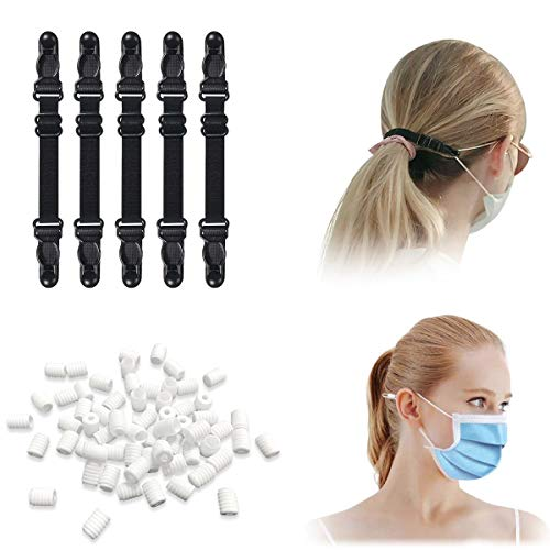 100 pcs Cord Locks Silicone Toggles for Drawstrings for Masks,10 pcs Masks Extension for Extending Masks Buckle Band,Elastic Cord Locks Adjuster Non Slip Stopper,Suitable for Children,Adults