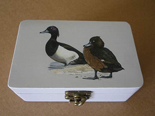 Caja artesana decorada'Collera de Zorrinegros', Porrón moñudo (Aythya fuligula), Tufted duck