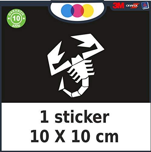 mural stickers Adesivi Scorpione Abarth Sport Stripes Adesivo per 500 Turbo Abarth Tuning Adesivi Auto Decorazioni Accessori 10 X 10 Bianco