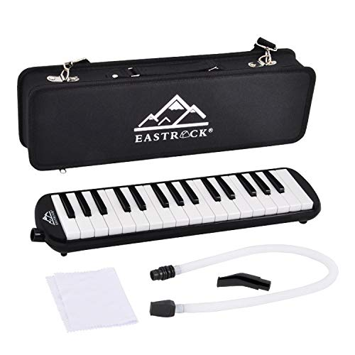 EastRock 32 Key Melodica Instrument Keyboard Soprano Piano Style with Mouthpiece Tube Sets and Carrying Bag for Kids Beginners Adults Gift Black