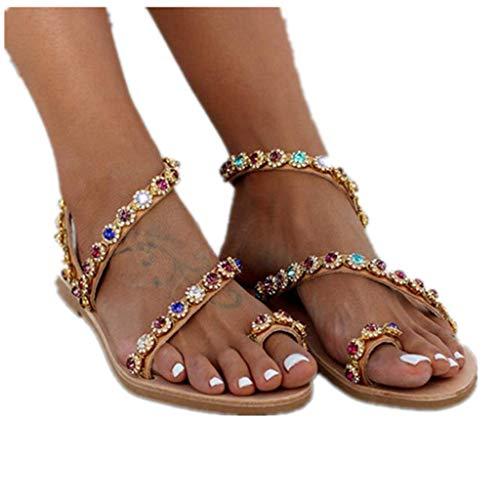 haoricu Women's Wedding Sandals Pearl Flats Beaded Bohemian Dress Flip-Flop Gladiator Shoes Larger Size Brown