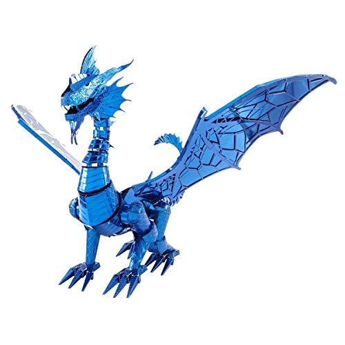 Fascinations Metal Earth ICONX Blue Dragon 3D metalen puzzel, constructiespeelgoed, vanaf 14 jaar