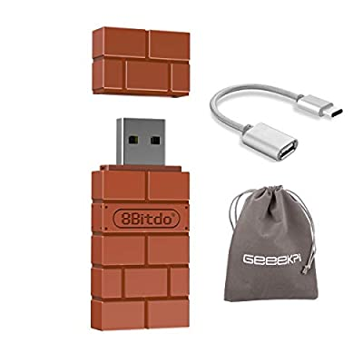 8Bitdo Wireless USB Bluetooth Adapter for Nintendo Switch, Windows, Mac OS, Raspberry Pi, and Switch, Compatible with all 8Bitdo Controllers, with a OTG Cable from GeeekPi