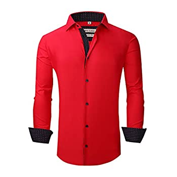 Piero Lusso Long Sleeve Regular Fit Casual Sold Colour Dress Shirt for Men Red