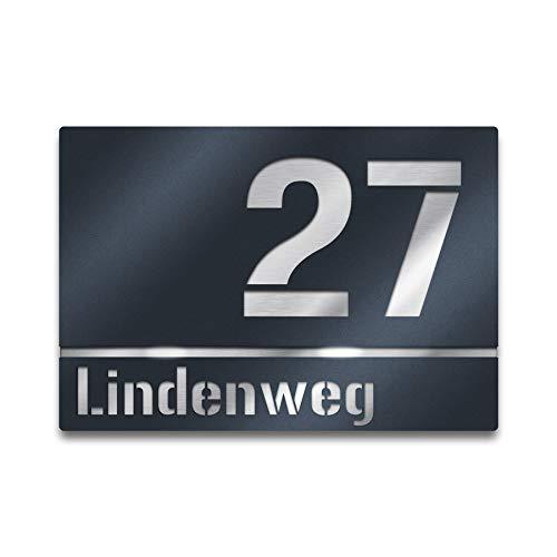 Moderne Hausnummer Edelstahl-Platte – Anthrazit RAL 7016 - Schild mit Nummer und Straßenname - inkl. Gravur-Service