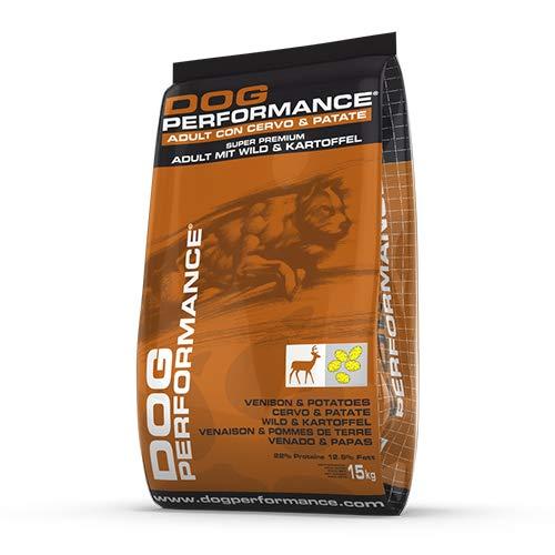 DOG Performance Crocchette per Cani Adult Super Premium Cervo e Patate. Mangime Completo per Cani Monoproteico, utile nei Cani con intolleranze al Pollo - Sacco da 15 kg