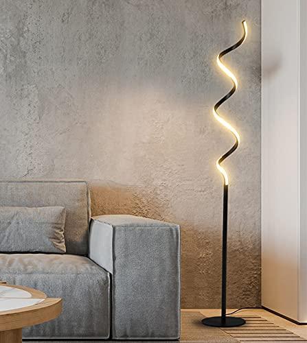 VCXZ Lámpara de pie, lámpara de pie en Espiral LED con Control Remoto, 3 temperaturas de Color, interruptores de Pedal, luz de Piso Moderno de 19W para Sala de Estar, Dormitorio,Negro