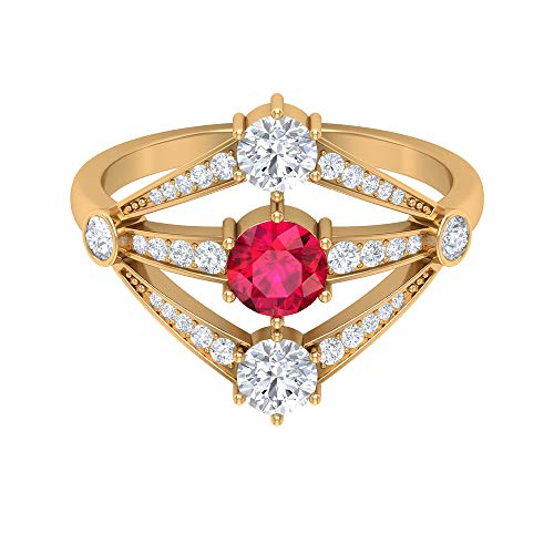 5.00 MM Lab Created Ruby Solitaire Ring, HI-SI Diamond Solitaire Ring with Side Stones, Split Shank Engagement Ring, Gold Art Deco Ring (AAAA Quality), 14K Yellow Gold, Size:UK S1/2