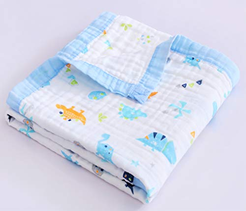 Jay amp Ava Baby Muslin Blanket Organic Cotton 4 Layers Soft Hypoallergenic Breathable Quilt Nursery amp Crib Blanket Stroller Blanket for Toddler Perfect Blue Dino