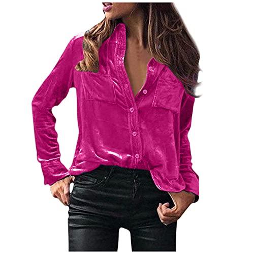 Damen Wintermode Samt Langarm Knopftasche Freizeithemd Top Herbst Freizeit T-Shirts Bluse Outdoor Casual Style Sexy Blusen T-Shirts Bluse Langarmshirt Damen