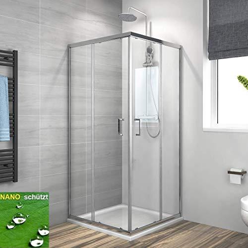 Duschkabine Eckeinstieg 90x90cm Duschabtrennung Schiebetür, Duschwand Glas Duschtür 6mm ESG Sicherheitsglas mit Nano-Beschichtung Höhe 195cm Vollrahmen Verchromt