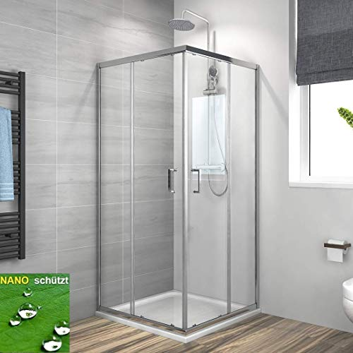Duschkabine Eckeinstieg 75x80cm Duschabtrennung Schiebetür, Duschwand Glas Duschtür 6mm ESG Sicherheitsglas mit Nano-Beschichtung Höhe 195cm Vollrahmen Verchromt