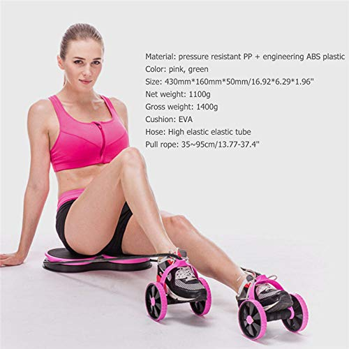 HUYHUY Abnehmen Muskel Trainingsgeräte Ab Roller Doppelrad Bauch Trainer Power Wheel Arm Taille Bein Übung Multifunktionale Home Gym-Pink