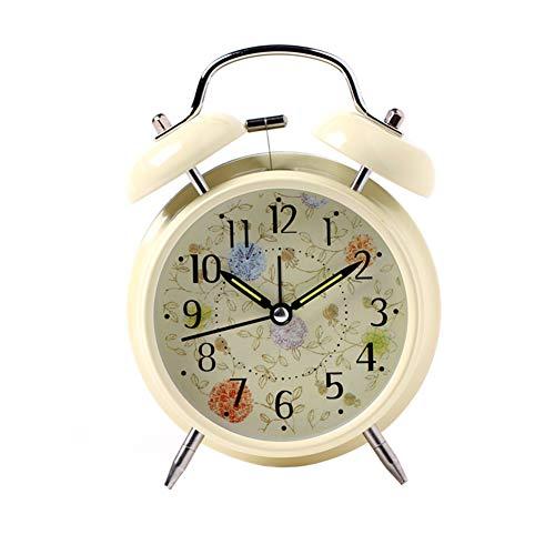 jingxiaopu Despertador Reloj Sobremesa Vintage Luminoso Reloj Despertador Muy Silencioso Reloj Mesita De Noche con Luz Despertador De Campana De Metal Beige