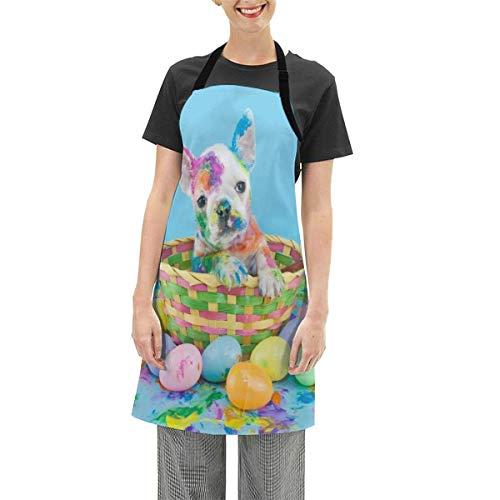 NA French Bulldog Puppy Delantal de Cara Multicolor Delantal de Cocina Delantal de Cocina Ajustable Impermeable Delantal para Hornear para Mujeres Hombres