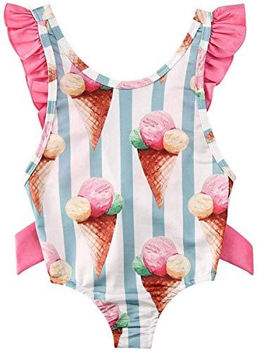 Angel ZYJ Costume da Bagno Neonata Bambina Costume Intero Stampa Gelato Senza Schienale Spiaggia Mare (6-12 Mesi)