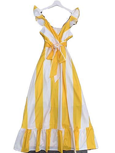 My cat vestido de rayas con cuello en V para mujer con estampado de rayas y lazo, dobladillo con volantes