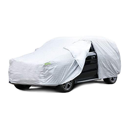 INTEY Autoabdeckung 490 * 193 * 180 cm Auto Abdeckplane SUV Vollgarage Ganzgarage, Mobile Autogarage, Autogarage mit Seitlicher Öffnung, Staubdicht Wasserdicht Atmungsaktiv
