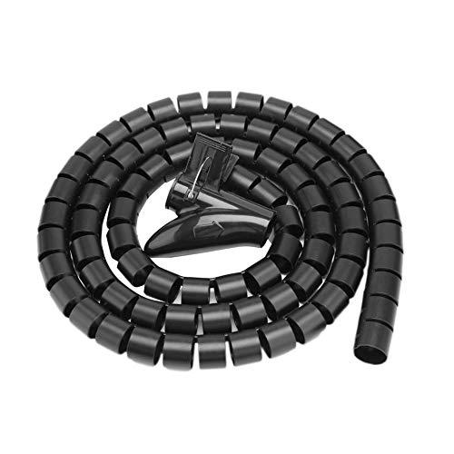 Tubo flessibile per cavi a spirale, 5 m, tagliabile, per TV, PC, cavo e organizzare (15 mm, nero)