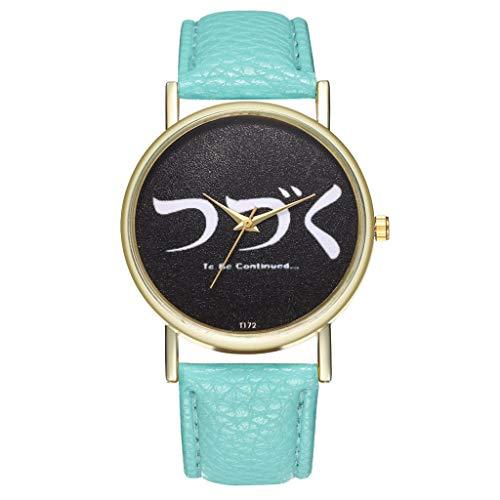 Luckhome horloge analoog kwarts met armband damesmode casual lederen band analoog kwartshorloge mode te zien A-linie Minzgrün muntgroen
