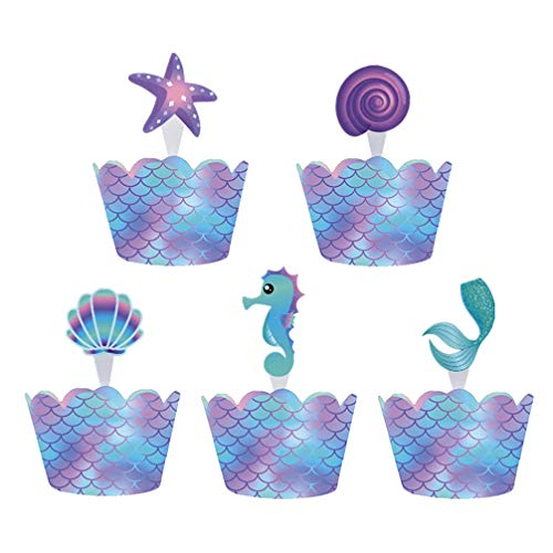 Amosfun 80pcs Papier Cupcake Wrappers Toppers Set Zeemeermin Ocean Stijl Taart Toppers Decoratieve Cupcake Liners voor Bruiloft Verjaardag Winkel