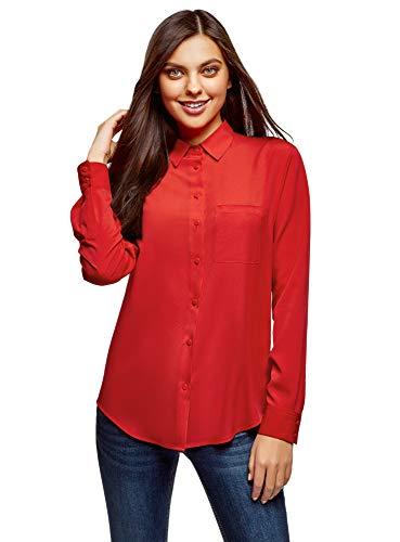 oodji Ultra Mujer Blusa Recta con Bolsillo en el Pecho, Rojo, ES 44 / XL