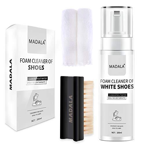 Limpiador Zapatillas Blancas, Kit Limpieza para Zapatos- 200ml Sneakers Cleaner, con Cepillo y Paño Limpiador