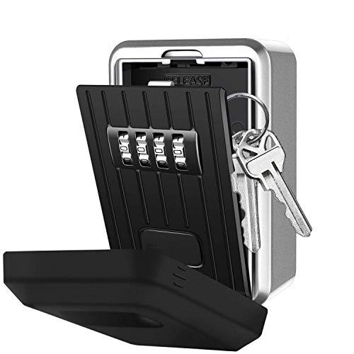 NBWS Caja de Seguridad con código Numérico de 4dígitos, Montaje Seguro con Llave para Llave de Repuesto, Caja Llavero de aleación de Zinc Resistente a la Intemperie