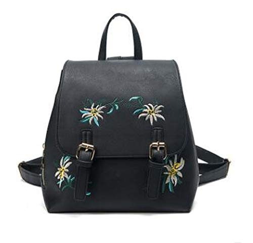 Women Leather Backpacks Female School Bags For Girls Floral Embroidery Flowers Bagpack,Black,24x27x14CM