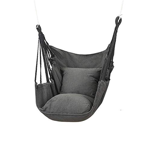 JZJSZB Hammock Chair Hanging, 1 Seat Cushions Included, Indoor and Outdoor Use | Swinging Seat Chair for Patio, Bedroom, or Tree (Color : Gray)