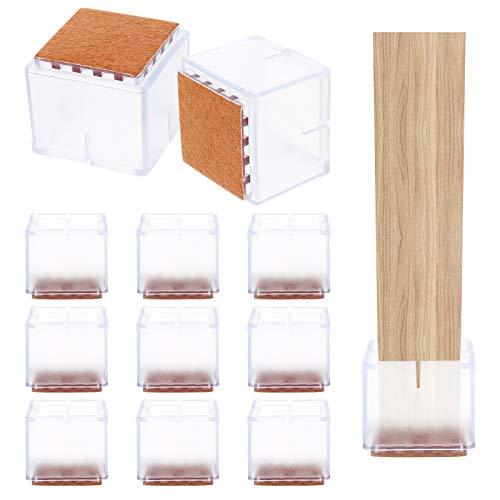 Fuyamp 36 Stück Stuhlbeinkappen, quadratische Silikon-Tischfüße, Bodenschoner mit Filz-Pads für 3 cm - 3,5 cm Stuhl, Schreibtisch und Möbelfüße