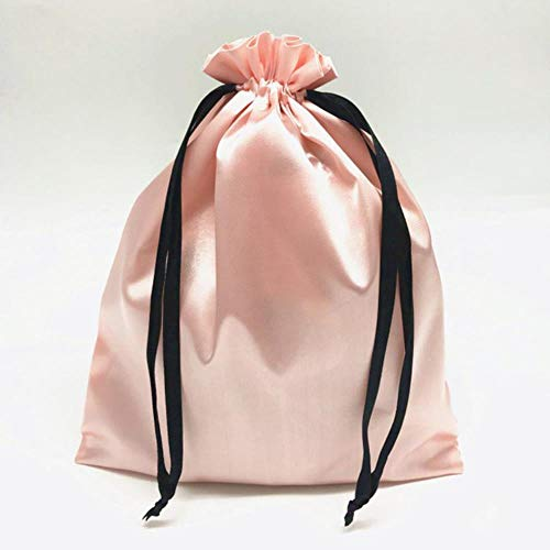 Aober 1PCS Seidensatin Kordelzug Geschenkbeutel Schmuck Make-up Verpackungstasche Schwarz Weiß Silber Rosa Seidenbeutel, 18x30cm