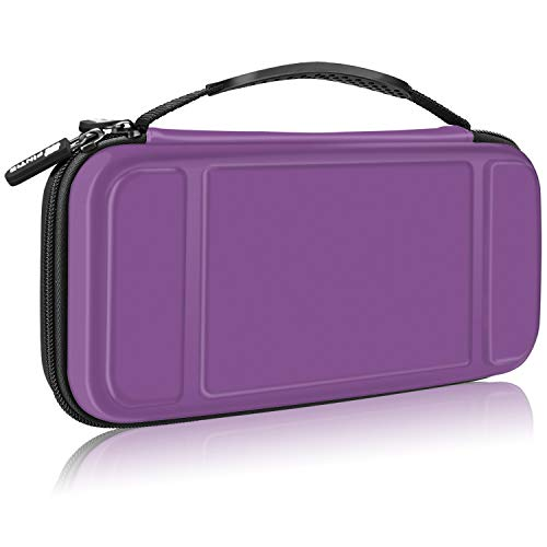 Fintie Carry Case for Nintendo Switch - [Shockproof] Hard Shell Protective Cover Travel Bag w/10 Game Card Slots, Inner Pocket for Nintendo Switch Console Joy-Con & Accessories (Purple)