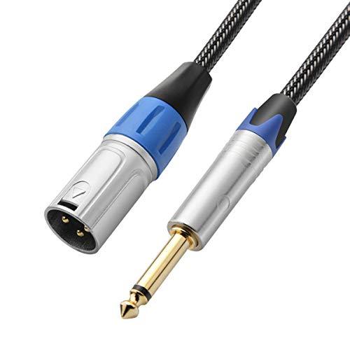 TISINO - Cable Macho 6.35mm TS a XLR, Trenzado de Nailon de...