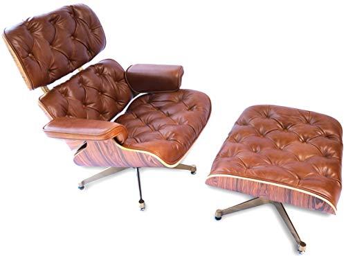 00001 Chesterfield Mid Century Charles Royal Swivel Lounge Chair con patas otomanas doradas de alto grado con piel vintage y madera de roble.