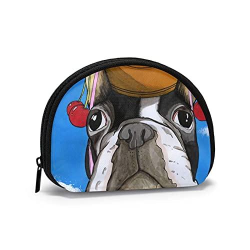 Bulldog francese con testa di frutta Interessante borsa per il cambio a tema stampato Borsa carina per riporre le conchiglie Portafogli per ragazza Bule Portamonete Portachiavi Gifys Donna Novità